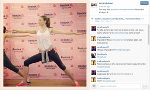Miranda Kerr in her 'downtime,' working out at Reebok Skyscrape in Tokyo