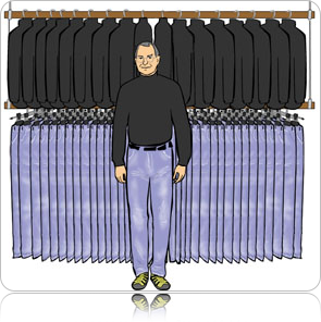 The wardrobe collection of the man responsible for America's most prolific and widely disseminated cellphone (not a fact, a personal observation) -Steve Jobs.
